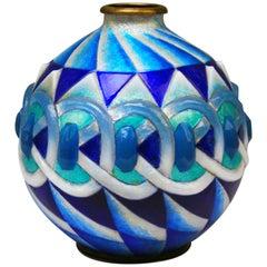 Camile Fauré Vase Art Deco Copper Enamelled Decorations Limoges France