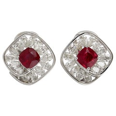 Camilla 18 Karat Gold 2.7 Carat Diamonds Ruby Stud Earrings
