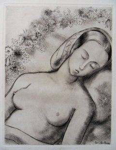 Sleeping Nude - Original etching, 1943