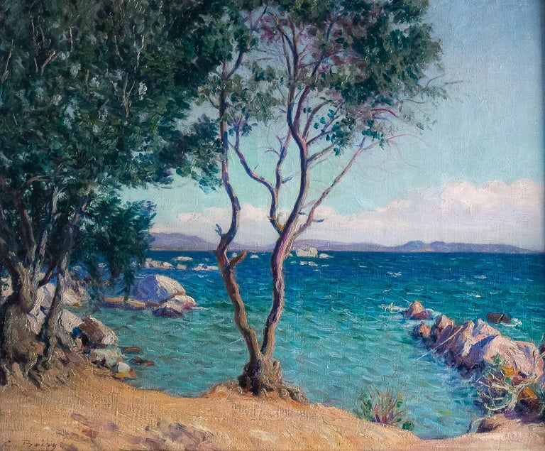 French Camille Boiry, Oil on Canvas Provencal Landscape, circa 1920 For Sale