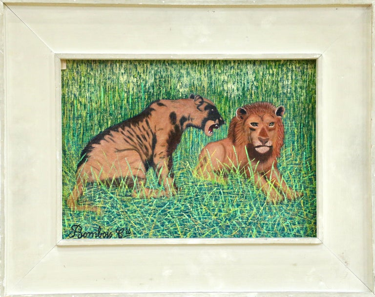 Lions - Mid 20th Century French Oil, Animals in Landscape by Camille Bombois For Sale 1