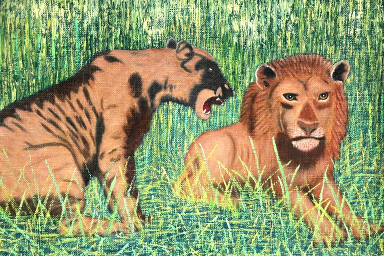 Lions - Mid 20th Century French Oil, Animals in Landscape by Camille Bombois For Sale 2