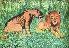 Lions - Mid 20th Century French Oil, Animals in Landscape by Camille Bombois