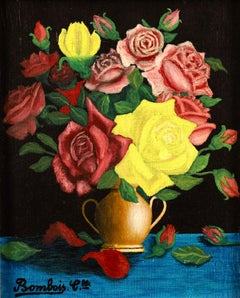 Roses - French Naive Oil, Still Life of Flowers by Camille Bombois