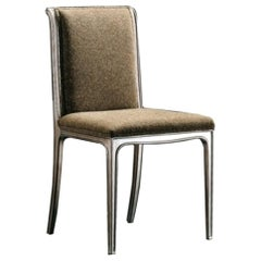 Camille Dining Chair in Solid Wood with Upholstered Seat and Back, Velvet
