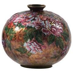 Camille Faure Enameled Copper Vase