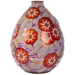Camille Fauré Enameled Copper Vase
