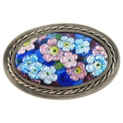 Camille Faure Limoges Blue Enamel Floral Brooch Pin