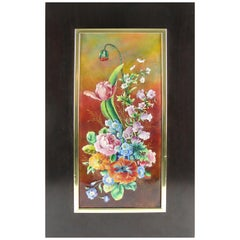 Camille Faure Limoges Framed Floral Enamel Wall-Mounted Plaque