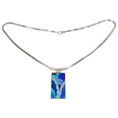 Camille Faure Limoges School Blue Enamel Geometric Pendant Necklace