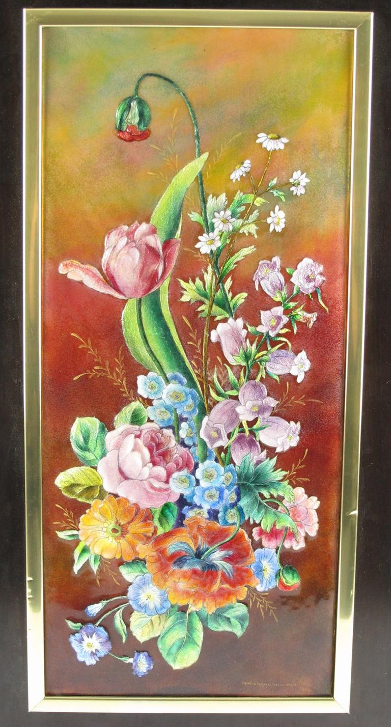 Decorative enamel plaque by Camille Faure, Limoges. Limited edition numbered two out of eight pieces produced. Floral design named