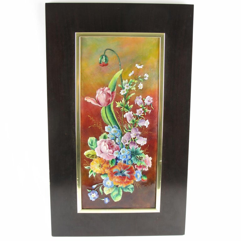 Camille Faure Limoges Tall Framed Decorative Enamel Wall-Mounted Plaque For Sale