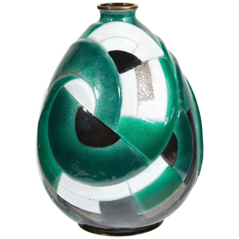"Camille Fauré, ""Primerose Vase"", Ovoid Shaped Enamelled Copper Vase, circa 1930 For Sale"