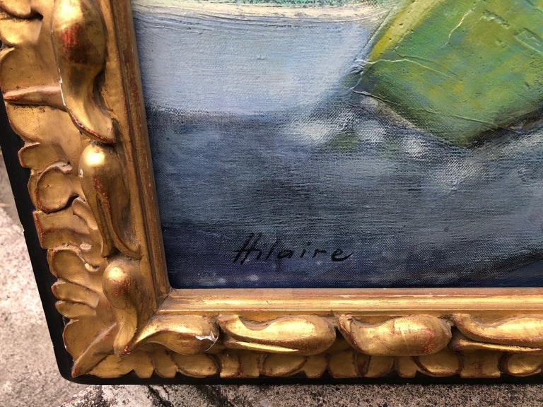 Camille Hilaire (1916-2004) La grande falaise signed 'Hilaire' (lower left); signed, titled and inscribed 'G. 12/La grande falaise/Hilaire' (on the reverse) oil on canvas. Authenticity by Hilaire, Measures: 35 x 35 Unframed 45 x 45 framed.