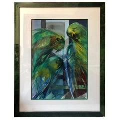Camille Hilaire '1916-2004' 'Parrots' Watercolor Parakeets