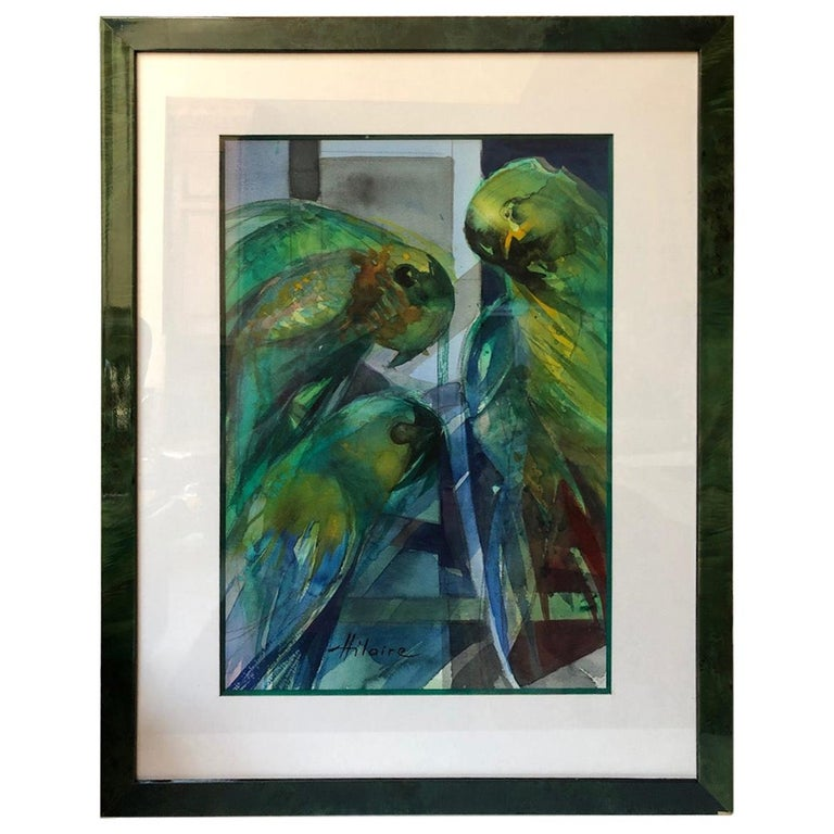 Camille Hilaire '1916-2004' 'Parrots' Watercolor Parakeets For Sale