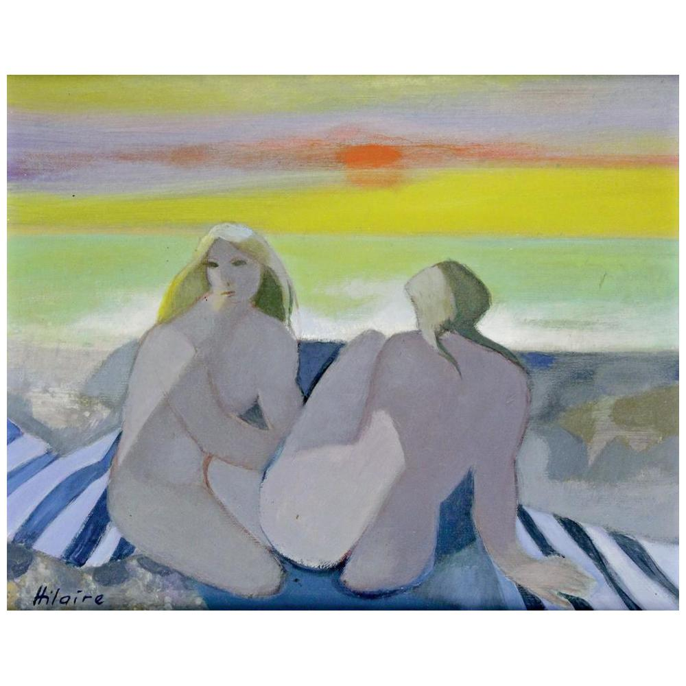 """Camille Hilaire """"Bathers on the Beach at Sunset"""""""