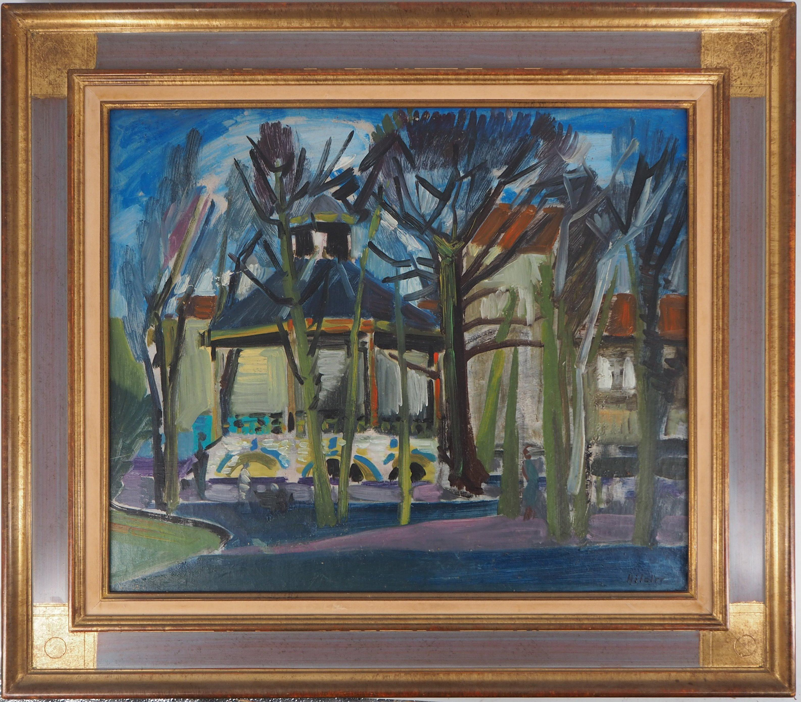 Bandstand in the Garden of a Castle - Original oil on canvas, Signed