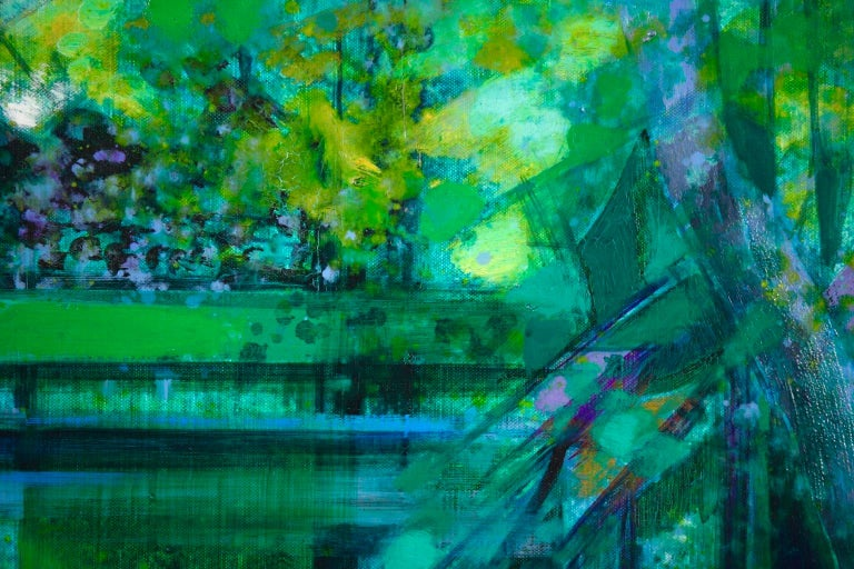 La Riviere - French Cubist Oil, Green River Landscape by Camille Hilaire 9