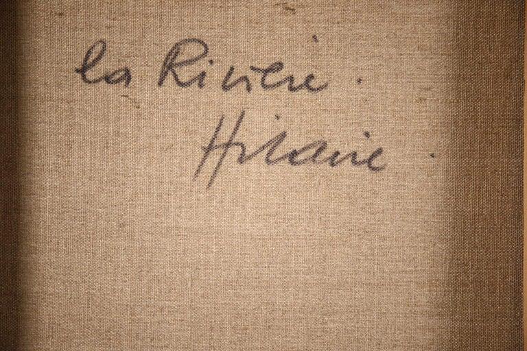 La Riviere - French Cubist Oil, Green River Landscape by Camille Hilaire 11