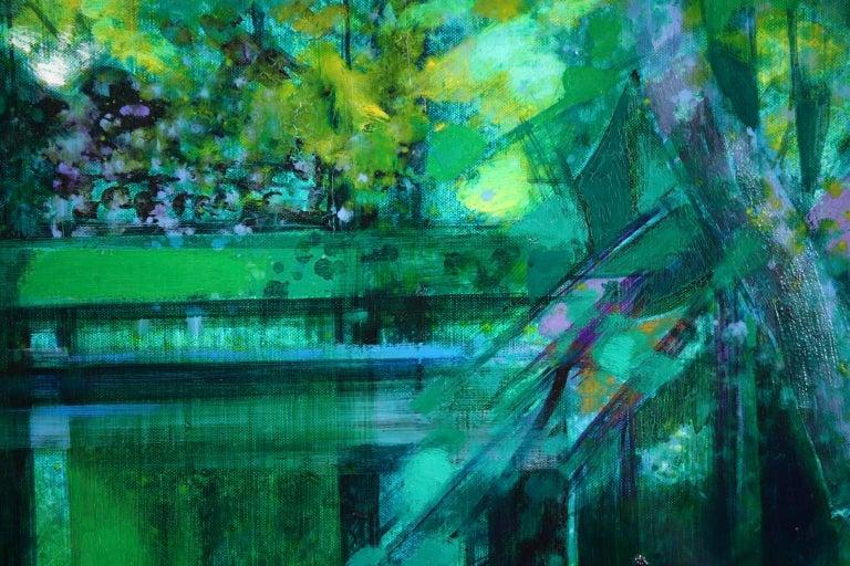 La Riviere - French Cubist Oil, Green River Landscape by Camille Hilaire 3