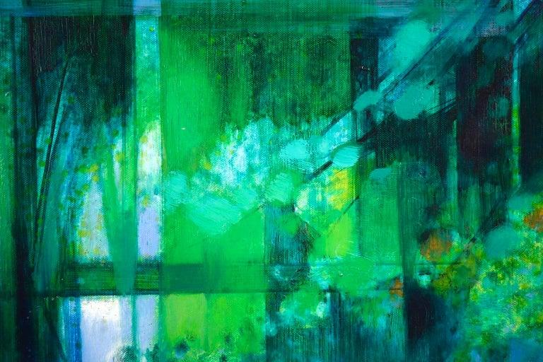 La Riviere - French Cubist Oil, Green River Landscape by Camille Hilaire 5