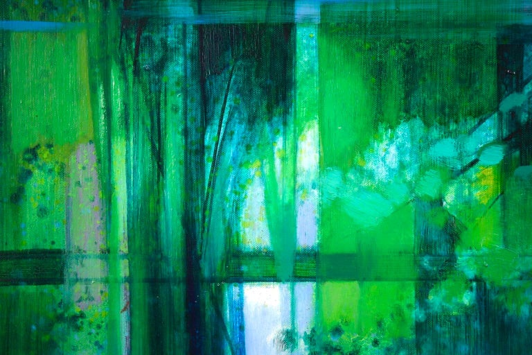 La Riviere - French Cubist Oil, Green River Landscape by Camille Hilaire 7