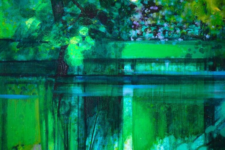 La Riviere - French Cubist Oil, Green River Landscape by Camille Hilaire 8