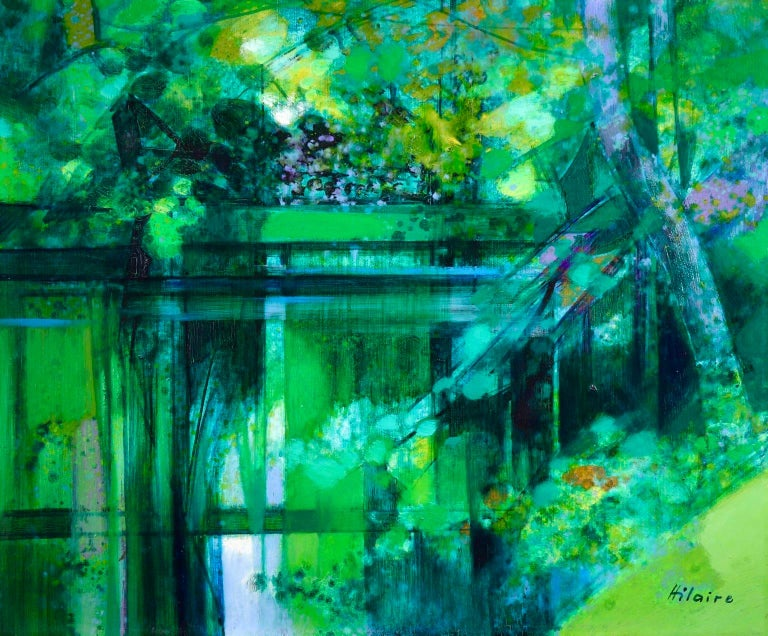 A stunning oil on canvas circa 1950 by French cubist painter Camile Hilaire. The piece beautifully depicts trees on reflecting in the water of a river. The painting is painted in wonderful greens with dots of blue and purple.  Signature: Signed