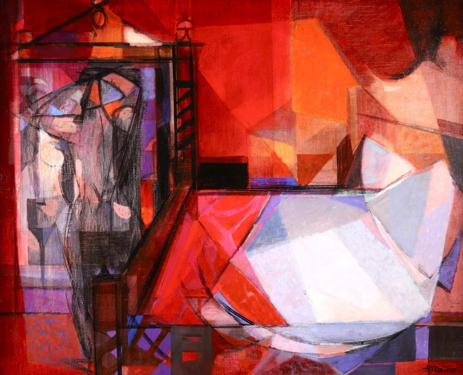 Nude in a Bedroom - French Cubist Oil, Figure in Interior by Camille Hilaire