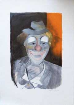 Circus : Clown with Little Hat - Original handsigned lithograph