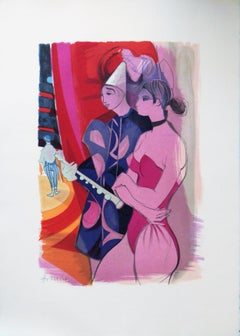 Circus : Pierrot Clown and Acrobat - Original handsigned lithograph