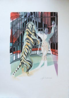 Circus : Tiger on Scene - Original handsigned lithograph