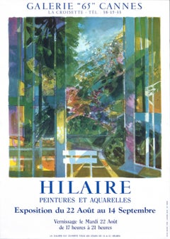 """""""Hilaire - Peintures et Aquarelles - Cannes"""" Landscape French Exhibition Poster"""