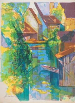 Rivers in France, Canal near Traditional Houses - Original handsigned lithograph