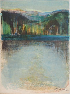 Rivers in France : Sunset on the Lake - Original handsigned lithograph