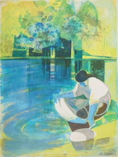 Rivers in France : The Washerwoman - Original handsigned lithograph