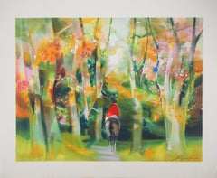 Spring : Horseman in the Forest  - Original lithograph