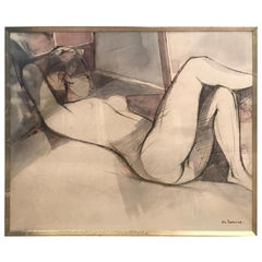 "Camille Hilaire Signed ""Naked Woman"" Watercolour And Pencil On Paper, 1972"