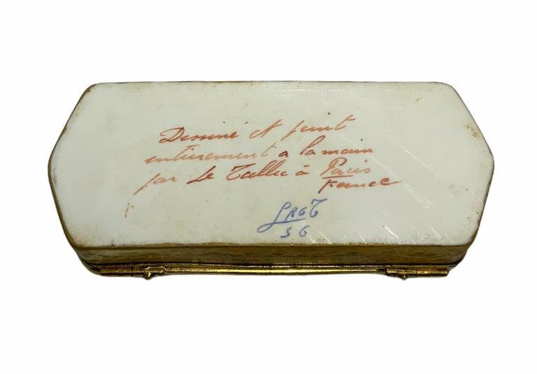 Hand-Painted Camille Le Tallec Porcelain Rectangular Dresser Box For Sale