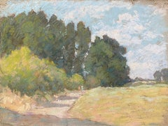 1940's French Impressionist Pastel Sunlit Countryside Pathway by Woods