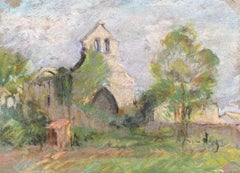 Antique French Impressionist painting Sunlit Buildings in Landscape