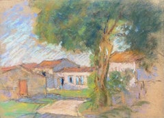 Camille Meriot, 1940's French Impressionist Pastel Country House & Buildings