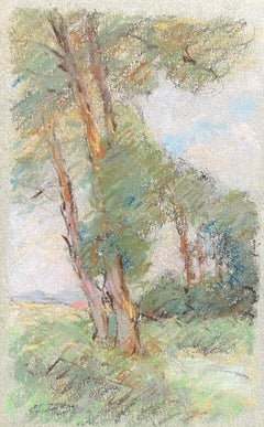 Camille Meriot French Impressionist Pastel Countryside Wispy Trees in Lane