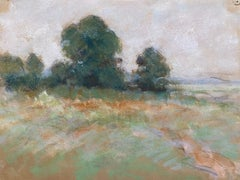 Camille Meriot French Impressionist Pastel - Green Countryside Fields