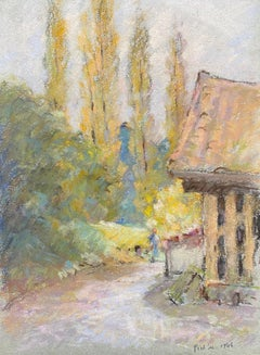 Camille Meriot, French Impressionist Signed pastel Rural Landscape