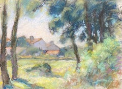 Camille Meriot Mid 20th Century Pastel French Impressionist painting Rural Field