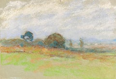 Camille Meriot, Pastel French Impressionist Green Countryside View