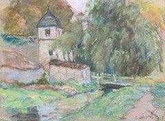 Fine French Impressionist Pastel, Countryside Village Lane River and Trees