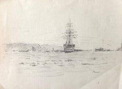 Sailing boat at Sea, French Impressionist drawing